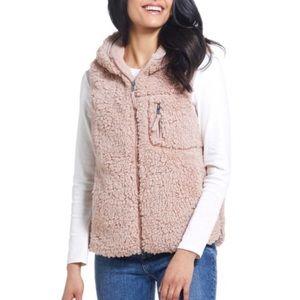 Pink Faux Fur Hooded Vest Weatherproof 1X